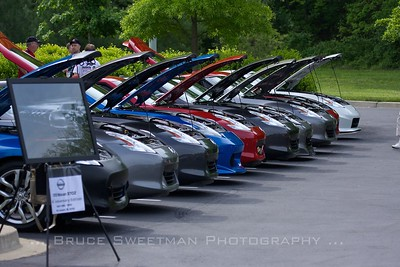 Zcars lined up by generation at the people's choice concours. Here, a row of 370s.