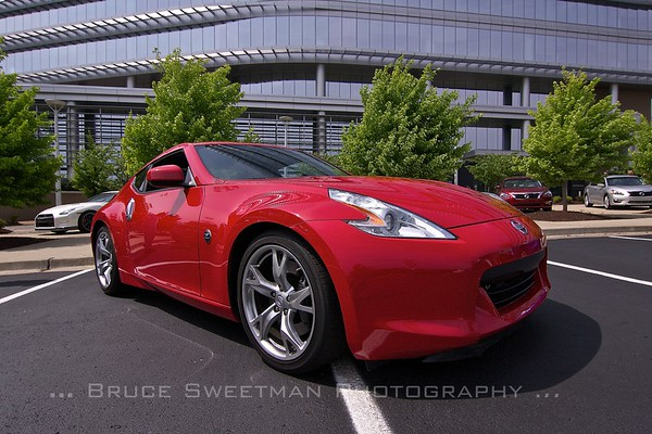 A new 370Z in front of the Americas building.