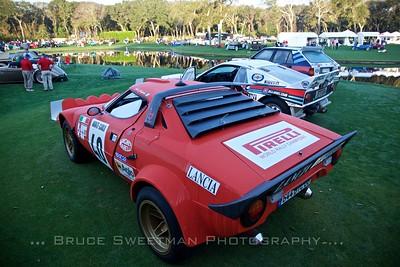 Front to Back: 1975 Lancia Stratos,1983 Lancia #37, 1988 Lancia Delta