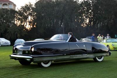The 1941 Chrysler Thunderbolt enters the show field Sunday morning.