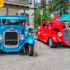 1929 FORD MODEL A (blue) & 1934 FORD THREE-WINDOW COUPE (red)