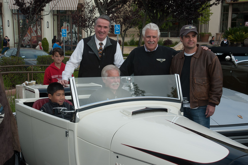 Steve Moal in one of his custom hot rod creations with Wayne Carini and Blackhawk's Tim McGrane and David Moal