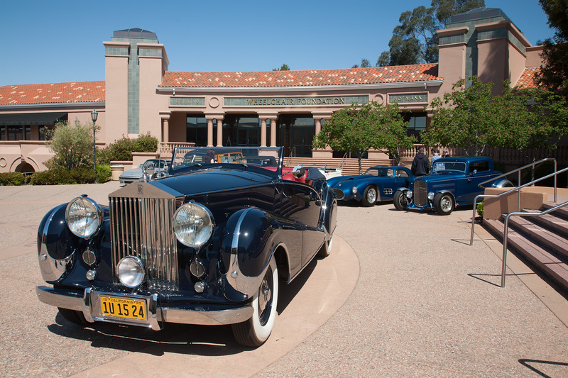 Inskip Rolls Royce in front of the Blackhawk Museum with Steve Moal's custom creations including the Gatto