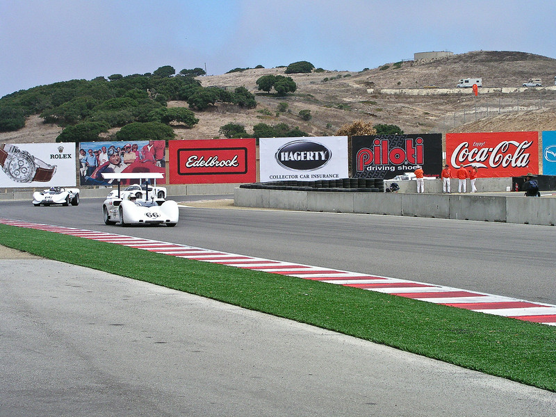 Chaparral 2E and 2C main staight at Laguna Seca