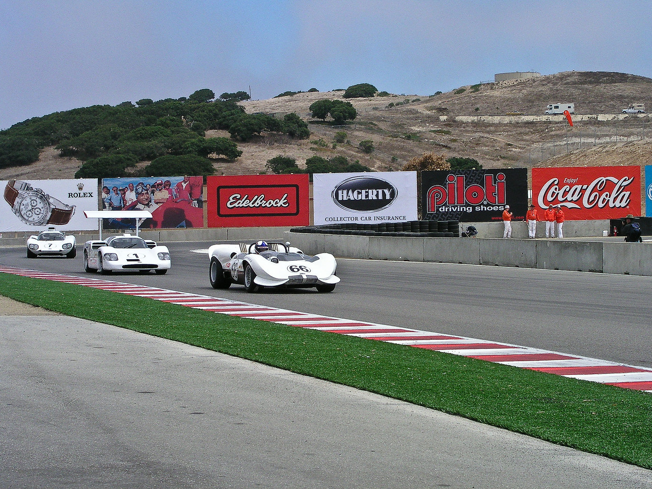 Chaparral 2C, 2F and 2E main staight at Laguna Seca