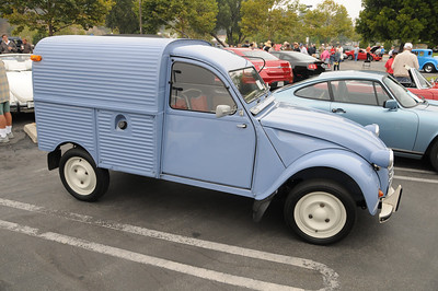 Citroen 2CV bought by owner from France and restored here in US. Better make sure you tighten all of the 3 lug nuts, would not want a wheel falling off!