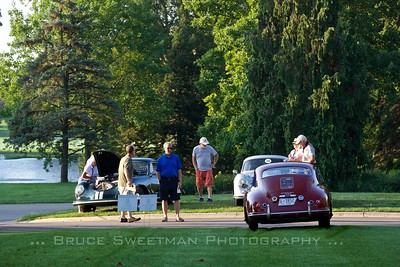 George Kehler's 1955 Pre-A Continental Coupe is an early arrival at the concours.
