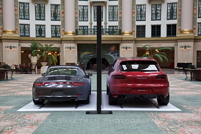 The Porsche display in the atrium of the West Baden Springs Hotel.