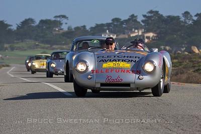 October 2011: 1953 Porsche 550 Prototype 550-04 L-R Dr Wolfang Porsche, Hans Herrmann. 17-mile Drive Pebble Beach, CA