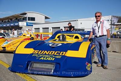 Legendary Porsche engineer Valentin Schäffer stands next the fabulous 917/30-003.   Saturday Concours