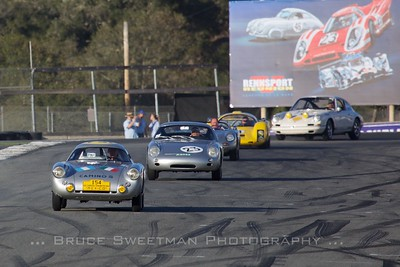 1953 Porsche 550-001 Coupe  leads the exhibition laps on Saturday.
