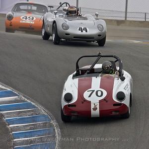 #70 1961 Porsche 356B Ron Goodman #44 1959 Porsche 718RSR  R.H. Grant #49 1960 Porsche Abarth Carrera GTL Ranson Webster