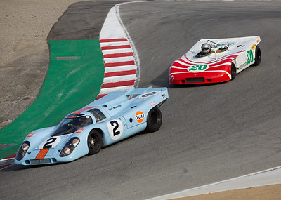 Cameron Healy chases Bruce Canepa through the Corkscrew during the Werks Trophy race.