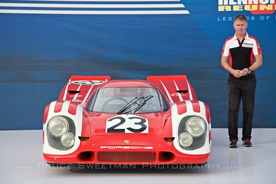 Porsche's first over-all Le Mans winner (917-023) was displayed in the Porsche Platz.