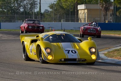 1969 Lola T70MKIIIB in back:Alfa Romeo GTV, MGA
