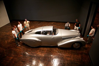 "1938 Hispano-Suiza H6B Dubonnet ""Xenia"" Coupe is moved into place."