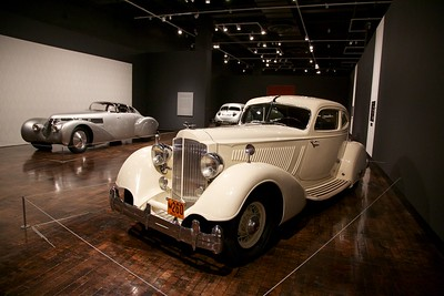 "Front: 1934 Packard Twelve Model 1106 Sport Coupe by Lebaron. Back:1938 Hispano-Suiza H6B Dubonnet ""Xenia"" Coupe"