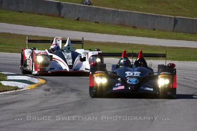 The Muscle Milk HPD ARX-03a follows the Level 5 Motorsports  HPD ARX-03b through turn 12.