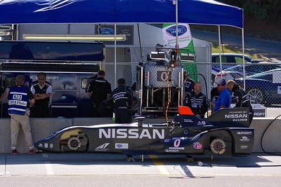 The Nissan DeltaWing sits in the paddock prior to qualifying. The DW ran as an unclassified entry.
