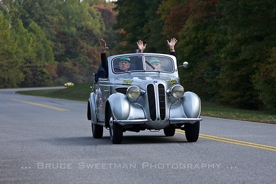 Bob Myracle and Eric Westin of Baxter, TN have fun in the museum's 1938 BMW 320.