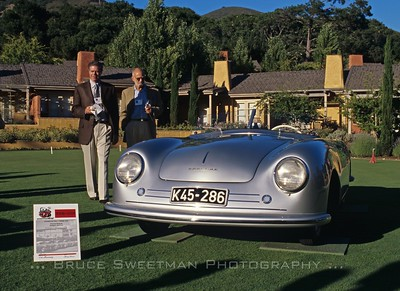 Bob Carlson PCNA next to Porsche 356/1 at the 2004 Speedster 50th Anniversary in Carmel, California.