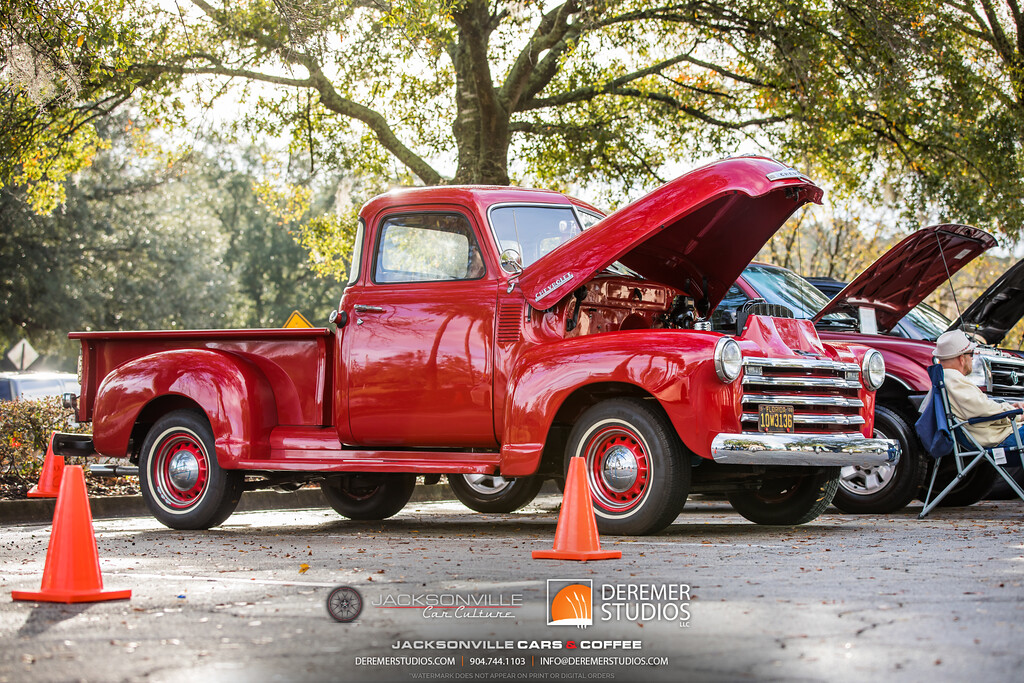December 2019 Jacksonville Car Culture - Cars and Coffee at the Avenues - A Red pickup