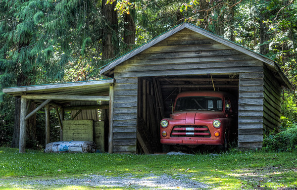 Old Classic Truck In Garage - Vancouver Island, BC, Canada