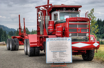 """Hayes HDX-H07 Logging Truck - Cowichan Valley, BC, Canada Please visit our blog """"Big Red Log Hauler"""" for the story behind the photo."""