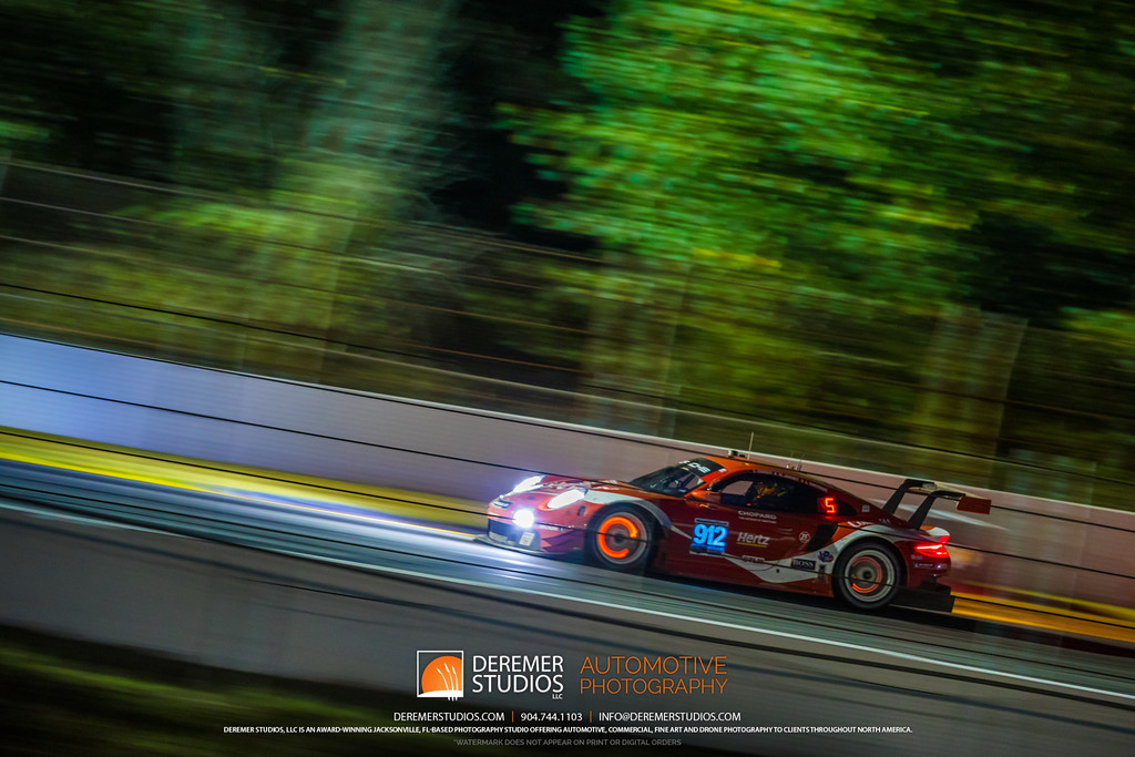 IMSA Road Atlanta - Motul Petit Le Mans - glowing brakes on the Coca Cola Porsche