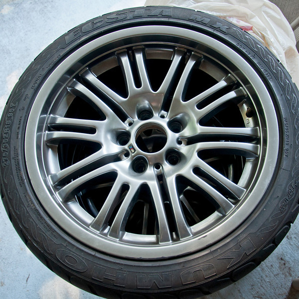 4$alez<br /> 2001 BMW OEM M3 Wheels<br /> staggered set 18x8 & 18x9<br /> 5x120 bolt pattern<br /> Ok condition, true with some curb rash, five hundred, tires free!