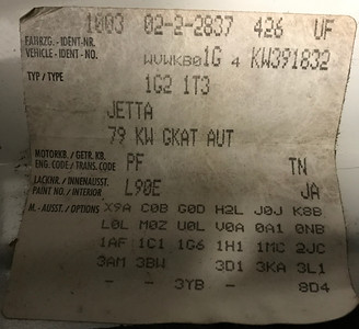 1989 Jetta Coupe information label