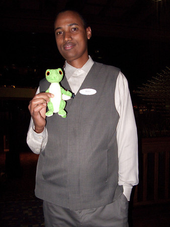 Gus and a hotel employee.