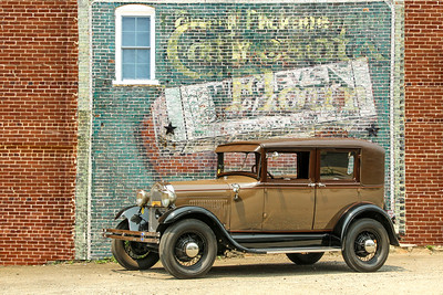 1928 Model A Ford Leatherback Sedan and Wrigley's Spearmint Gum/Ceresota Flour sign, West Chester, PA.