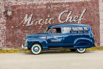 1950 GMC Panel Truck and Magic Chef Gas Ranges sign, Pittsburgh, PA.