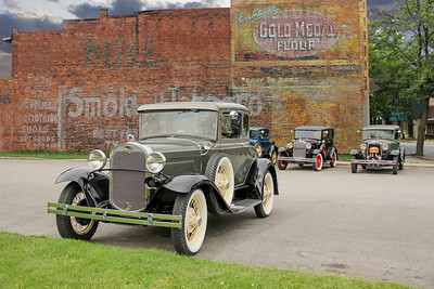 1930 Ford Model A Deluxe Coupe and Bull Durham and Gold Medal Flour sign, New Kensington, PA.