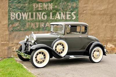 1930 Ford Model A Deluxe Coupe and Penn Bowling Lanes sign, Pittsburgh, PA.