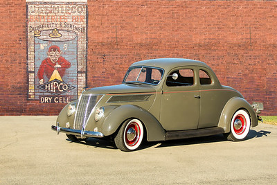1937 Ford Coupe Standard and Hipco Batteries sign, Pittsburgh, PA. .