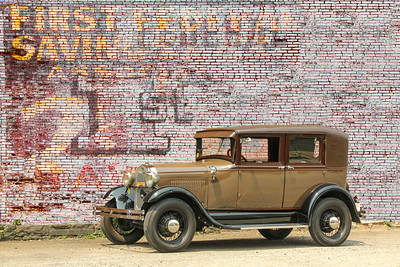 1928 Ford Model A Leatherback Sedan and First Federal Savings sign, Monessen, PA.