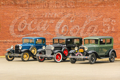Ford Model A's and Coca Cola sign, Brownsville, PA.