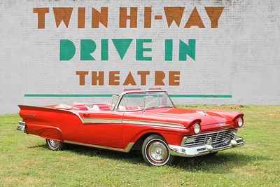 1957 Ford Fairlane and Twin Hi-Way Drive In sign, Pittsburgh, PA.