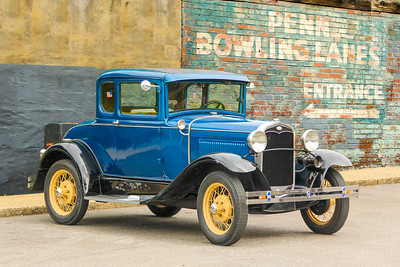 1931 Ford Model A Deluxe Coupe and Penn Bowling Lanes sign, Pittsburgh, PA.