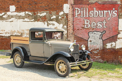 1930 Ford Model A Closed Cab Pickup and Pillsbury's Best Flour sign, New Kensington, PA.