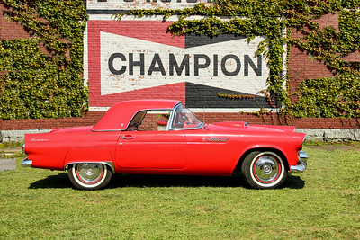 1957 Ford Thunderbird and Champion Spark Plugs sign, Ridgeway, PA.