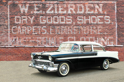 1956 Chevrolet Bel Air and W E Zeiden Dry Goods sign, Johnsonburg, PA.