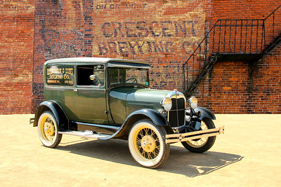 1929 Ford Model A Sedan Delivery and Cresent Brewing Co sign, Glassport, PA.
