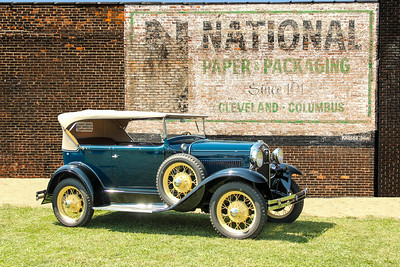1931 Ford Model A Deluxe Phaeton and National Paper Packaging sign, Cleveland, OH.