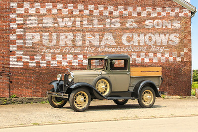 1930 Closed Cab Pickup and Purina Chows sign, Harrisburg, PA.  .