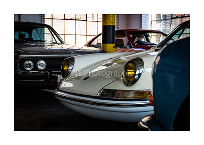 Porsche 911 Hot Rod peaking out between BMW E9 and Porsche 356C
