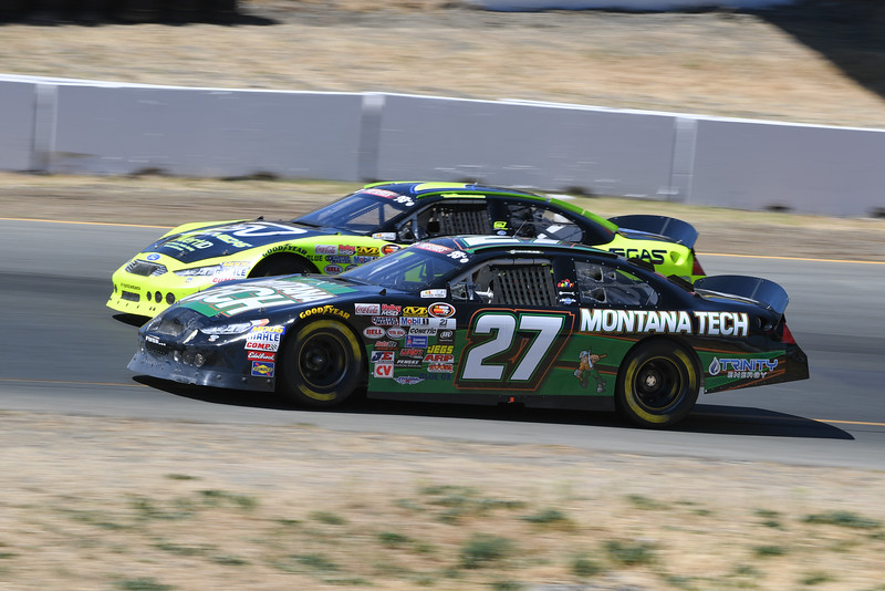 #27 passes #7 at turn 2 at Sonoma Raceway