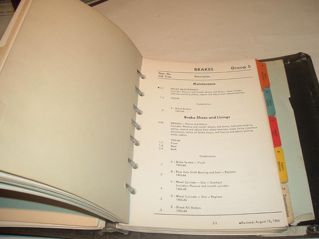 1966 CadillacFlat rate service manual Original print (a 1966cadflatrate)